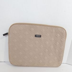 Tumi beige quilted laptop sleeve